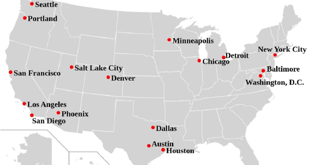 Here Is The Salary You Need To Make Rent In Major Us Cities - Map-of-large-us-cities