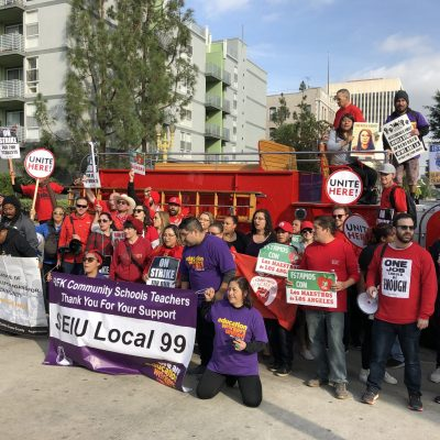 Solidarity Rally with Teachers, Hotel Workers