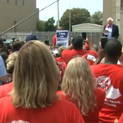 Bernie Sanders Joins Striking Union Workers On Picket Line