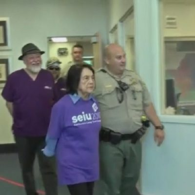 Cops Arrest 89 Year Old Dolores Huerta In Labor Protest For Workers Who Care For Disabled And Elderly