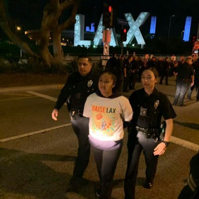 Workers Arrested During LAX Protest